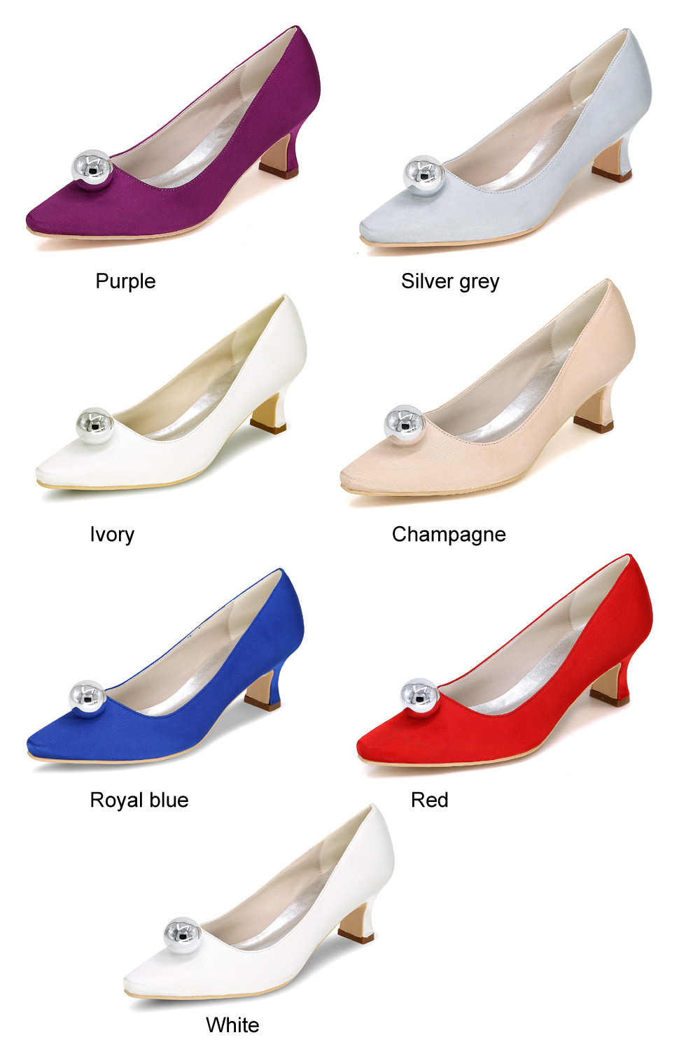 Comfortable satin hoof heel bridal wedding party prom evening dress shoes with silver ball on pointed toe special fun pumps
