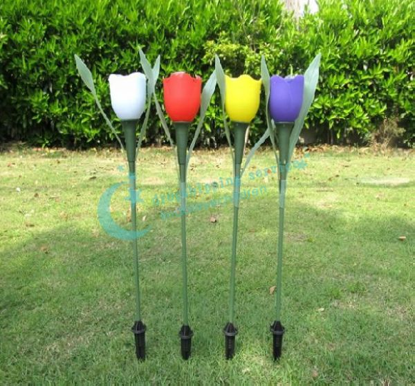 Light control led solar tulip shaped garden lawn lamp flower street light outdoor decorative - Decorative garden lights ...