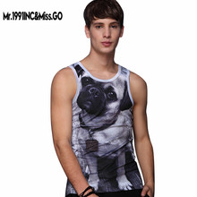Mr.1991INC&Miss.GO Adorable Puppy 3D Printed Men Tank Tops Sleeveless Slim Casual Men's Tees Clothing Homme Male Rock Streetwear