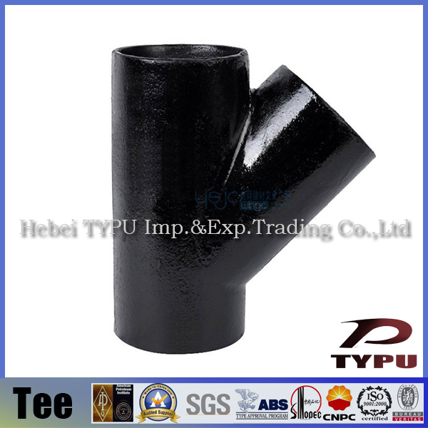 Degree y branch pipe fitting lateral tee