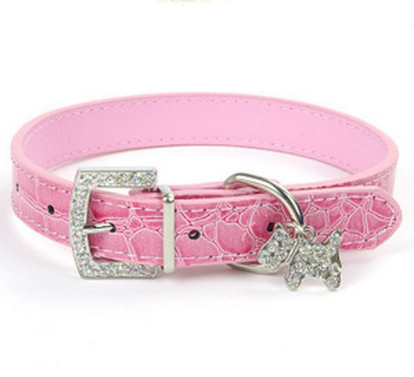 Croc Leather Dog Collars Leather Dog Cat Puppy Collar Rhinestone pendant pet(China (Mainland))