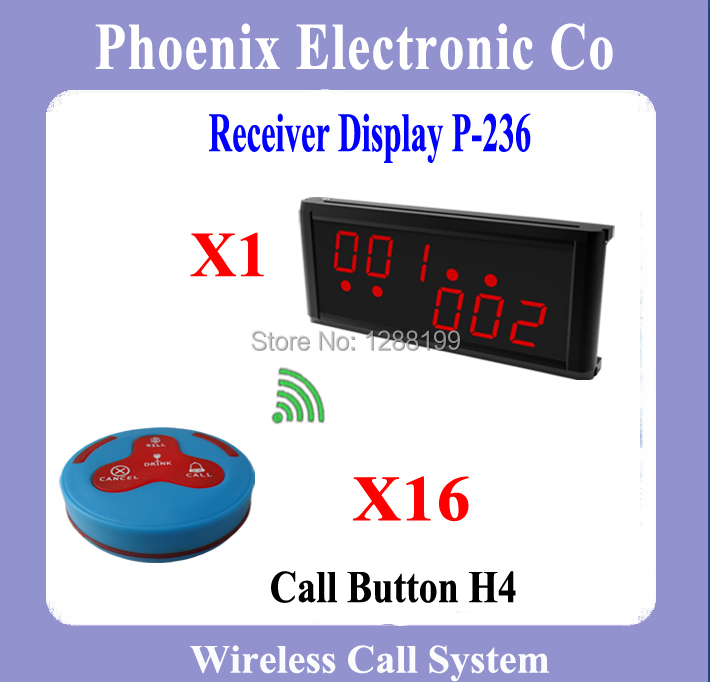 Wireless Waiter Calling System,Restaurant Pager System, 16 PCS Bells + 1 PCS P-236 Display Receiver,DHL Free Shipping(China (Mainland))