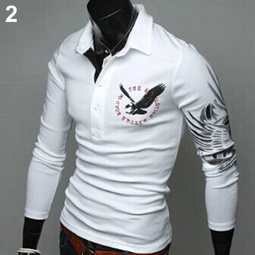 2016 New Product Newest Men's Stylish Eagle Tattoo Pattern T-shirt Casual Slim Fit Long Sleeve Tops Tee Shirts(China (Mainland))