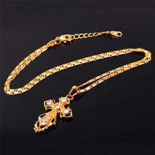 Vintage Cross Pendant With Luxury Cubic Zirconia 2015 New 18K Real Gold Plated Women Men Jewelry