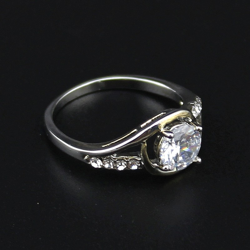 Korean Style Exquisite Classic Fashion Silver Plated Wedding Rings Crystal Rhinestone Paved Women Ring DFJ-19 - Top Jewelry Shop store