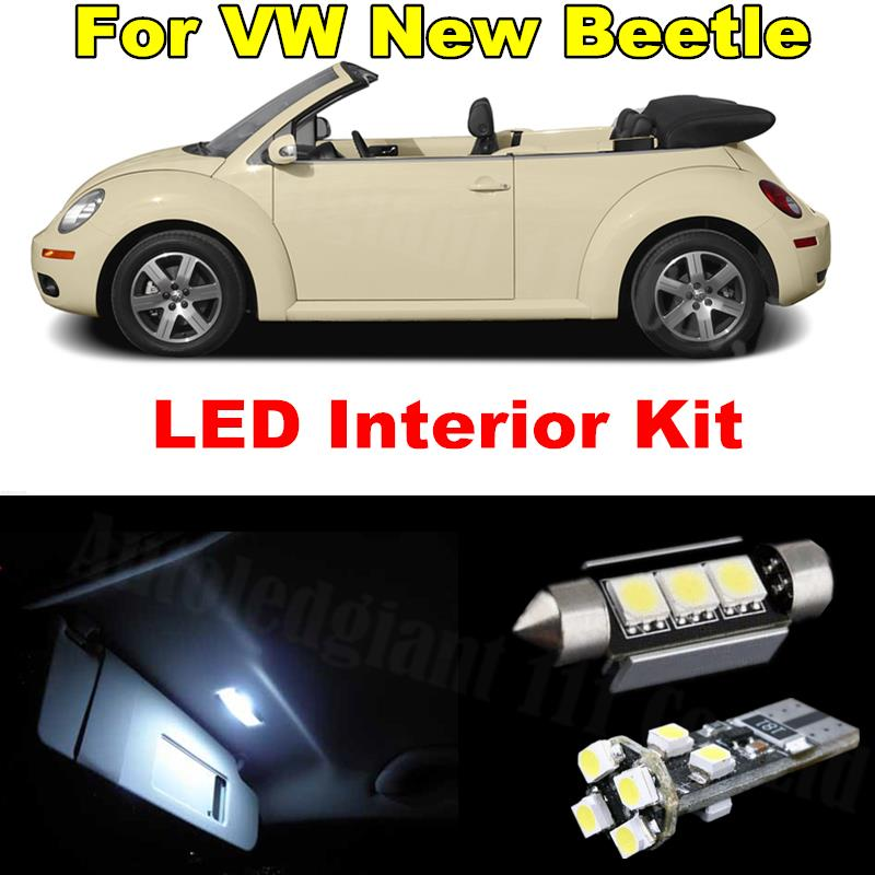 5pieces Cold White Canbus Led Lamp Bulb Interior Lighting Package For Volkswagen VW New Beetle Convertible LED Interior Kit(China (Mainland))