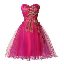 5 Colors Knee Length Corset Pink Cheap Bridesmaid Dresses Short Wedding Party Dress Appliques Toast Ball Gowns 7541(China (Mainland))