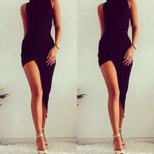 2015  Sexy Elegant Black Party Dresses Women Party Solid Dress NEW Summer Lady Wear Slim Vestidos Femininos Asymmetric Dresses(China (Mainland))