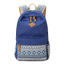 Vintage Girl School Bags For Teenagers Cute Dot Printing Canvas Women Backpack Mochila Feminina Casual Bag School Backpack(China (Mainland))