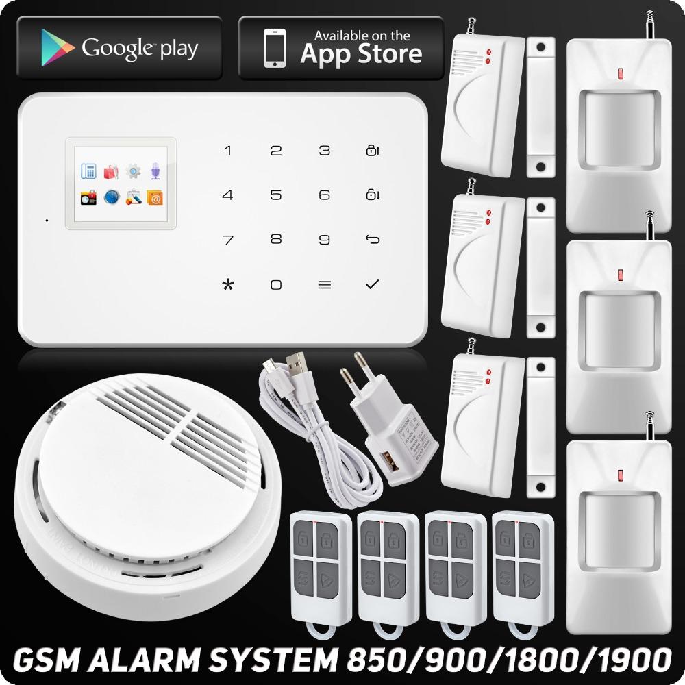 Kerui Wireless Intelligent Home Alarm System IOS Android APP TFT Touch Keyboard Burglar Security Alarm Wireless Smoke Detector(China (Mainland))