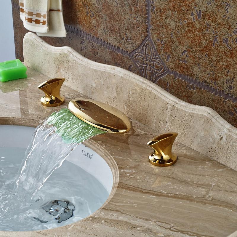 Фотография Golden Brass LED Waterfal Spout Basin Sink Faucet Widespread Hot Cold Bathroom Mixer Tap Dula Handles