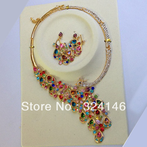100% Top Quality multicolour peacock crystal bridal jewelry sets Gold Necklace Earring wedding jewelry set for women