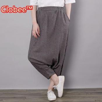 High Waist Stretch autumn style Women harem pants Casual Pants pantalon femme vintage trousers cotton linen striped pants WJ728