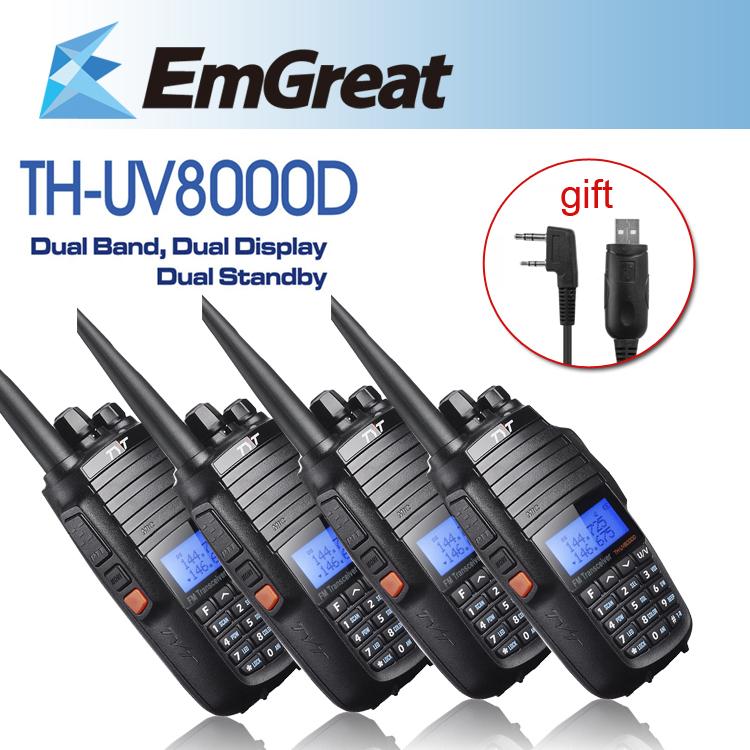 DHL Shipping 4pcs/lot TYT TH-UV8000D Ultra-high 3600mAh 10W Ham Radio Walkie Talkie Dual Band Display Standby +High Gain Antenna(China (Mainland))