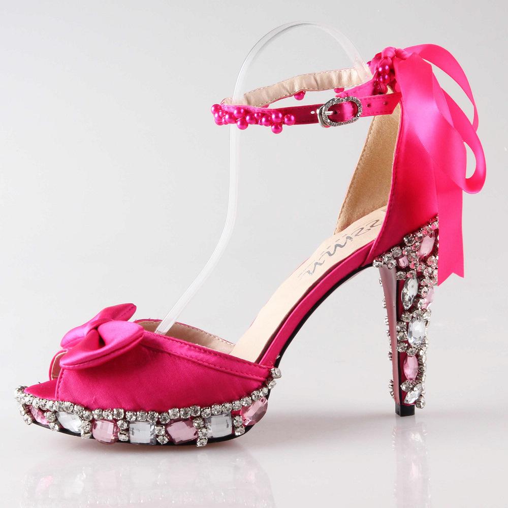 Hot Pink Satin Heels