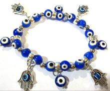 Vintage Fashion Hamsa Fatima hand Blue Evil Eyes  Charm Bracelet Good Luck Bracelet &Bangle For Women Box Gift DIY Jewelry A16(China (Mainland))