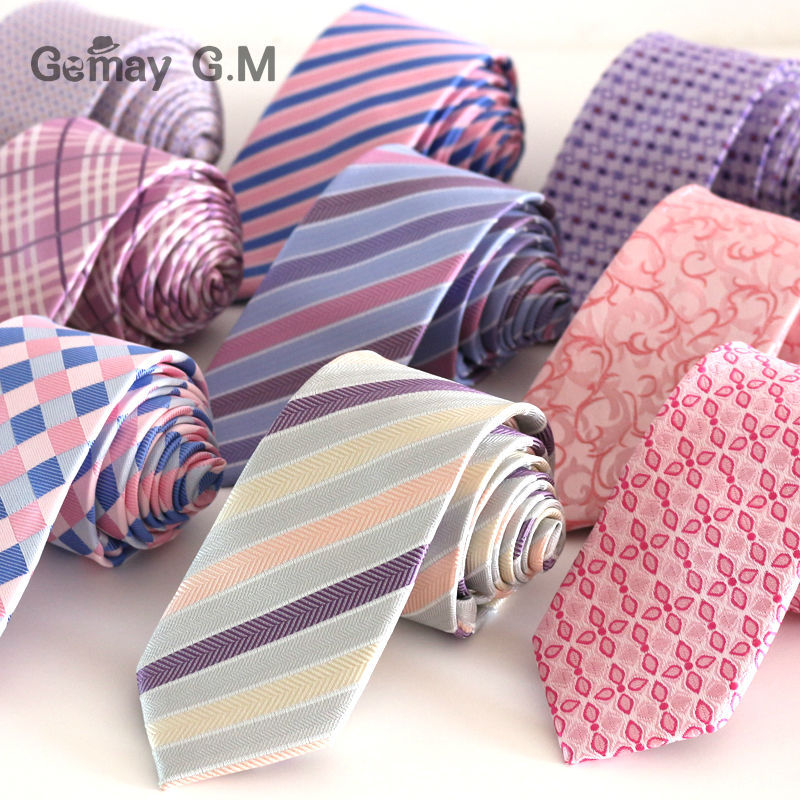 High Quality New Pink Style Plaid Ties for men Fashion Classic Mans necktie for Wedding 6cm Width Groom tie(China (Mainland))