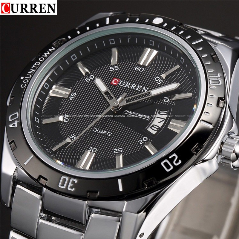 CURREN 8110 watches men stainless steel strap calendar relojes para hombre fashion casual army military orologio