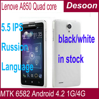 lenovo a850 Quad Core White balck in stock mtk6582m 5.5inch Android 4.2 GPS 3G Smartphone google playstore multi language