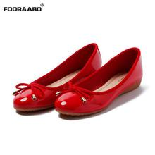 Buy Flat Heel Women Shoes Fashion Bow Round Head Slip Women Flats Patent Leather Shoes Women Ballet Flats Red Female Shoes for $21.24 in AliExpress store
