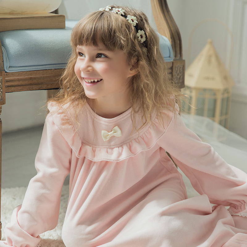 New Fashion Children's Girls Princess Nightgown Sweet Coral Fleece Night Dress Home Wear Baby Girl Pyjamas Kids Sleepwear 16801(China (Mainland))