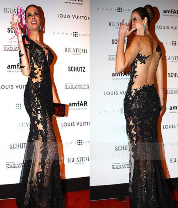 Long Black Dress With One Lace Sleeve Ivo Hoogveld