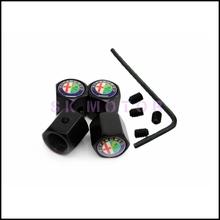 Black 4Pcs/Lot Anti-theft Style Alfa Romeo Car Badge Wheel Tire Valve Cap Tyre Dust Cap For Mito Giulietta 159(China (Mainland))