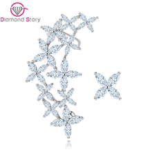 Teemi Brand New Arrival Luxury Vintage Flower Cubic Zirconia Ear Cuff Stud Earrings White Gold Plated Accessories Wholesale(China (Mainland))