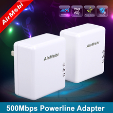 AirMobi 500mbps homeplug powerline Ethernet a pair adapter network powerline EU or US plug for AV IPTV free shipping
