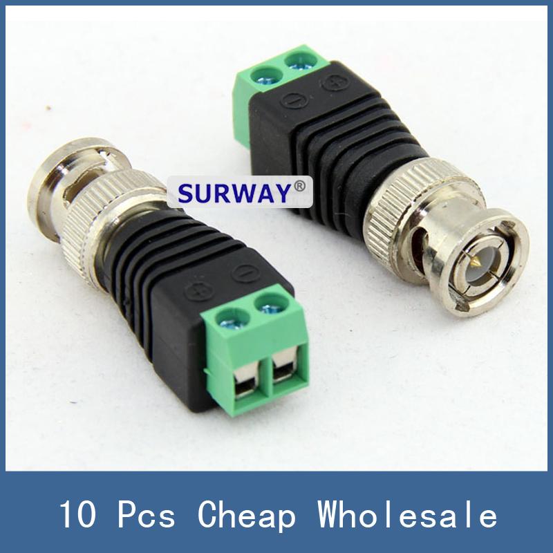 10pcs Cheap Wholesale Mini Coax CAT5 To CCTV Camera Adapter BNC UTP Video Balun Connector Plug , Free Shipping(China (Mainland))
