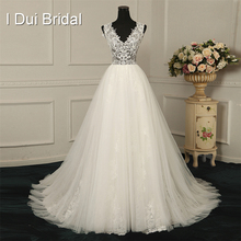 Buy V Neck Line Lace Light Wedding Dresses Appliqued Beaded Factory Real Photo Custom Made Measurements for $198.00 in AliExpress store