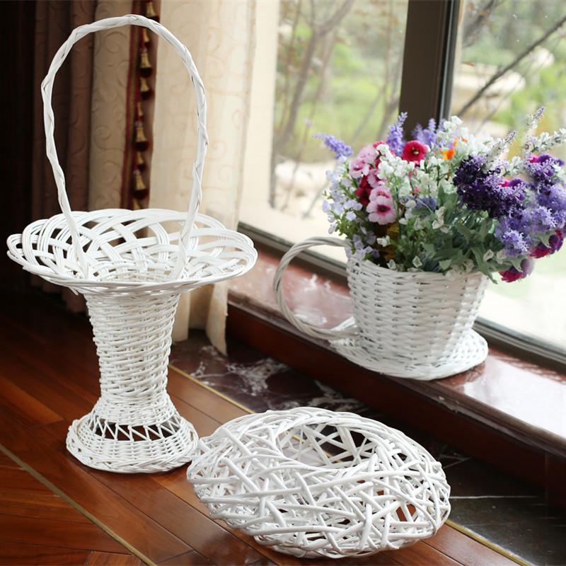 2015 Rushed Top Fashion Plant Pots Gold Derlook Personalized Flower Pot Basket Willow Decoration Vintage Straw Braid Ceramics(China (Mainland))