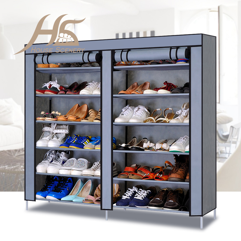 House Scenery 12 Layers Assembled Non-woven Fabric Shoes Cabinet Folding Dustproof Wetproof Shoe lockers Racks For Living Room(China (Mainland))