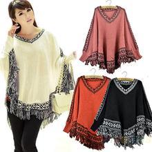 Women's Batwing Sleeve Pullovers Tassels Hem Cloak Poncho Tops Knitting Sweater Coat Fashion Hot Selling Spring Winter 0AX1(China (Mainland))