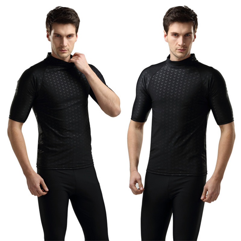 SBART Professional Men's Sharkskin Diving Suit Swimsuit Short Sleeve T-Shirts Tops Wetsuit Surfing Windsurf Swimming Swimwear(China (Mainland))