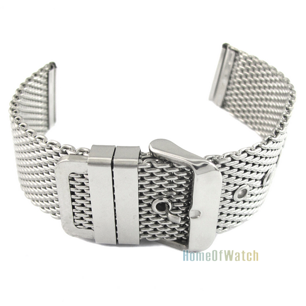 20mm Fashion Unisex Thick Mesh Steel Watch Band Strap Bracelet Pin Buckle Silver (NBW0BD7970-SI320)(China (Mainland))