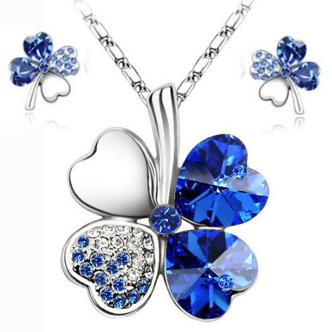 LM S045 Hot sale lucky clovers necklace Austrian crystal necklace earring jewelry set free shipping(China (Mainland))