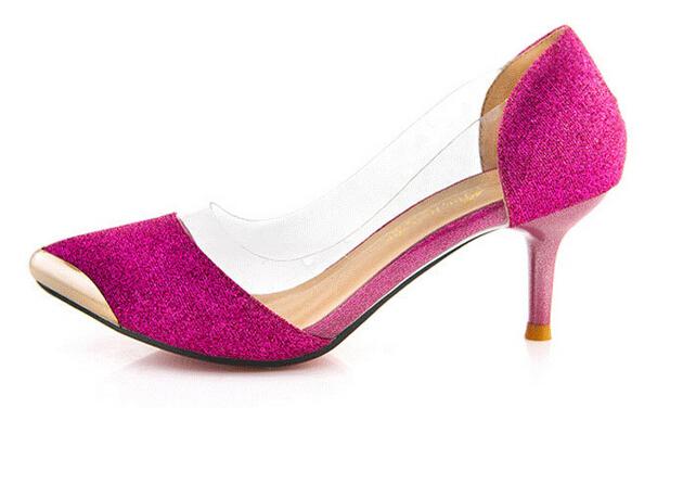 [해외]2015 새 봄 여름 여성 신발 포인트 발가락 얇은 힐 스틸레토 ..