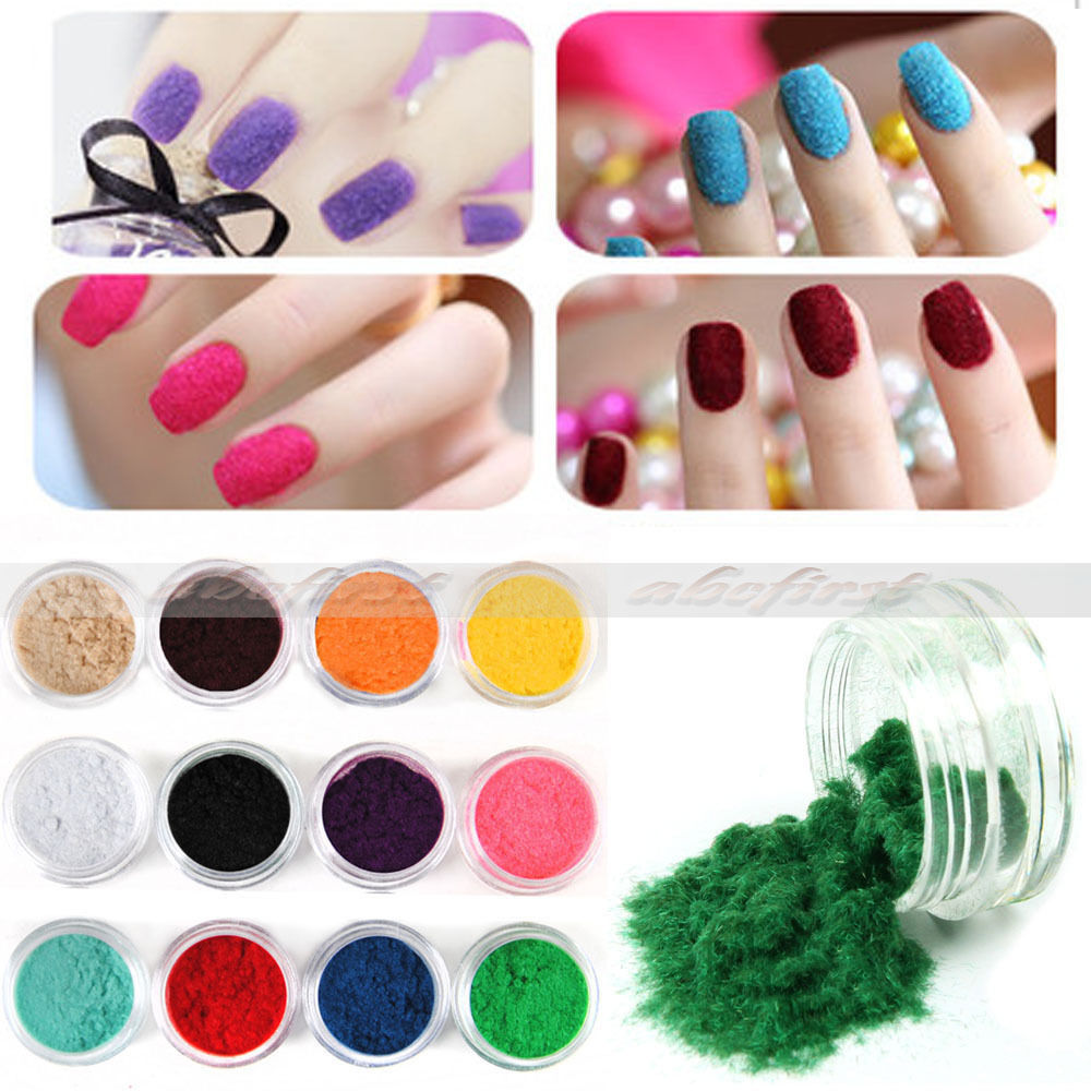 12 x Mix Color Nail Art Velvet Flocking liquid Glitter Powder Polish UV GEL Tips Free Shipping(China (Mainland))