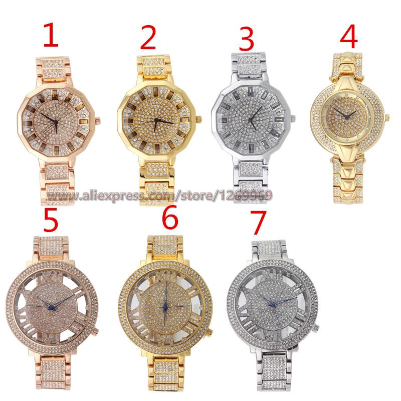 Здесь можно купить  Luxury Diamond Gold SilverGirl Lady Woman Top Brand Gift  Stainless Steel Back Skeleton Wrist Watch Relogios Masculino Quartz  Часы