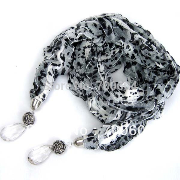 imitation stone crystal rhinestone jewelry pendant charm leopard Necklace Scarf wholesales scarves ladies girls accessories(China (Mainland))