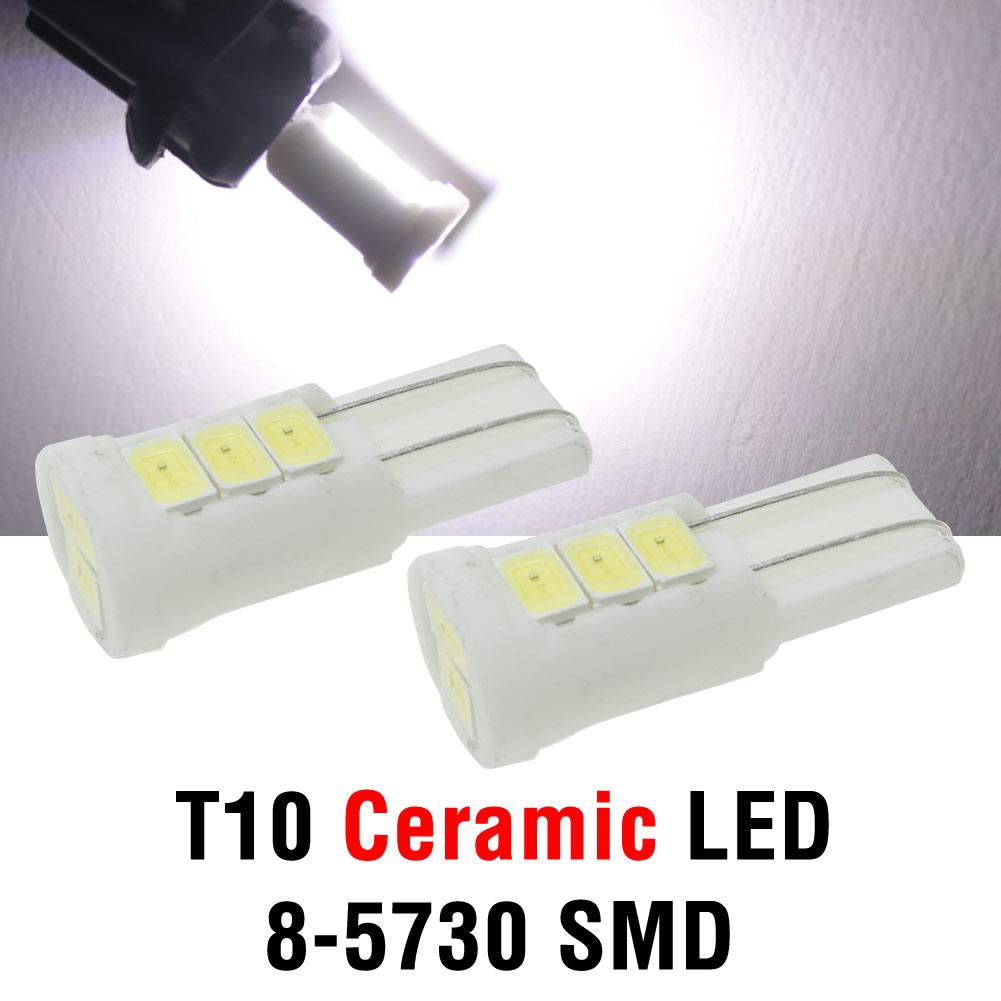 2x T10 194 interior lighting Ceramic 8x5730 SMD LED White Lights w5w 168 Side Dome Door Bulb(China (Mainland))