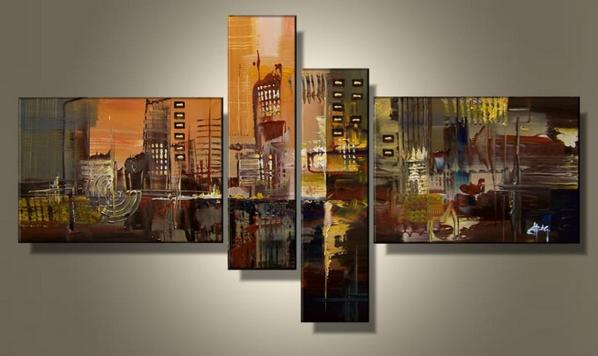 Hand Painted 4 Piece Wall Art Multi Panel Canvas Oil Painting Huge Canvas Home Decor For