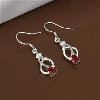 Hot Sale!!Free Shipping jewelry silver plated Earring,Fashion jewelry silver plated Jewelry Red Stone Earrings SMTE423(China (Mainland))