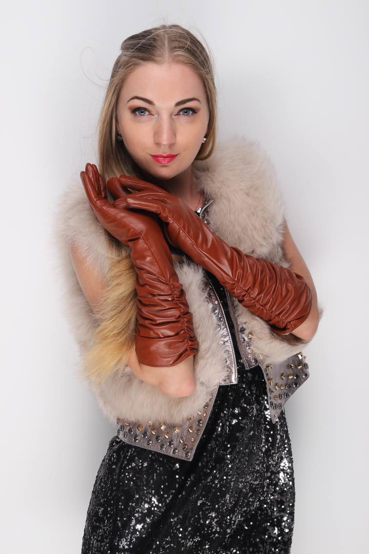 Fashion below elbow length ruffle ruched style winter warm genuine goat leather gloves red brown(China (Mainland))
