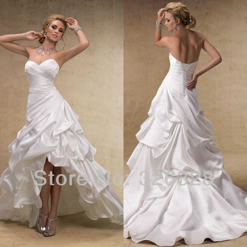 2013 high low white beach sweetheart low front and long for Sexy high low wedding dresses