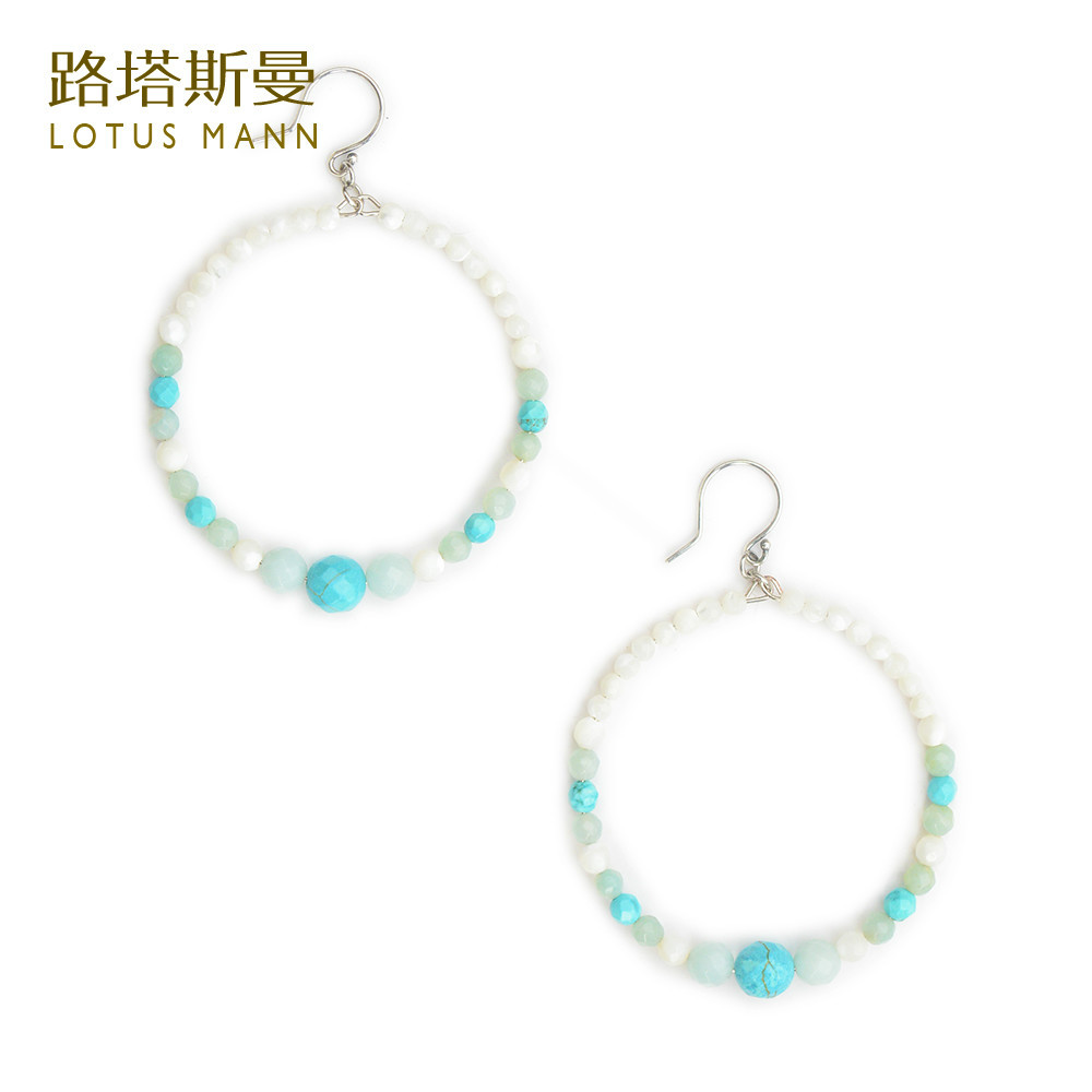 Lotus Mann Silver crystal silver plated French ear hook earringsTurquoise shell amazonite silver French ear hook earrings<br><br>Aliexpress