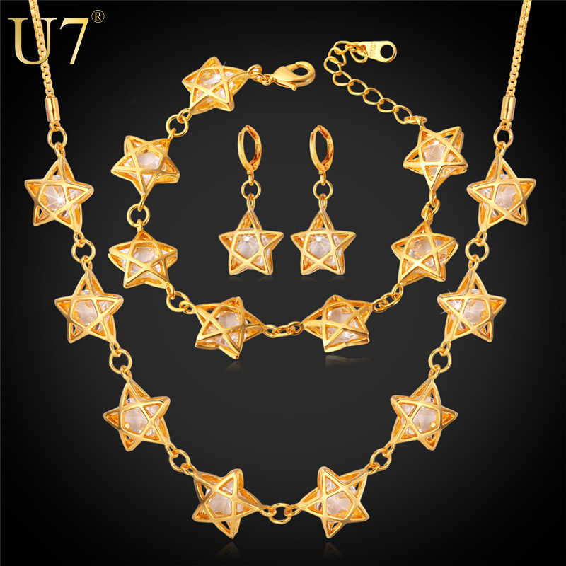 Elegant Star Jewelry set For Women Wedding Accessories Cubic Zirconia 18K Real Gold Plated Necklace/Earrings/Bracelet Sets S651<br><br>Aliexpress