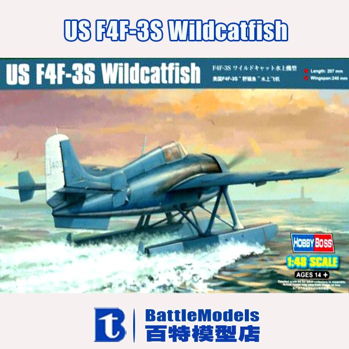Hobby Boss MODEL 1/48 SCALE military models #81729 US F4F-3S Wildcatfish plastic model kit(China (Mainland))