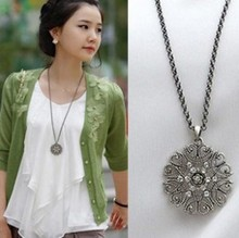 N353 N346 fashion major circular hollow flower long necklace sweater chain jewelry.Free Shipping! wholesale!(China (Mainland))